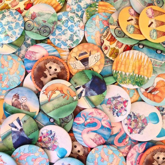 #Making #fabric covered #badges and pocket #mirrors today! Ceridwen Hazelchild Design