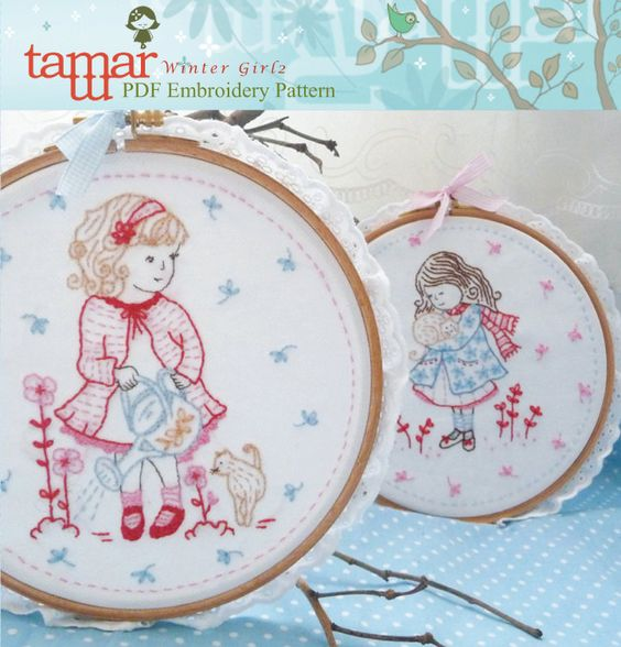Hand Embroidery Patterns - Winter Girl 4.93 US