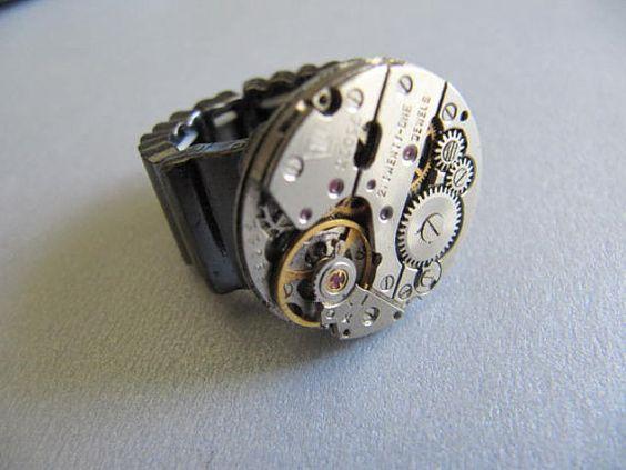 Steampunk Ring, Steampunk Jewelry,Unisex, Men, Women,Tungsten, Watch Parts, Steampunk Gears, Unisex, Gift Under 20 Dollars on Etsy, $16.00