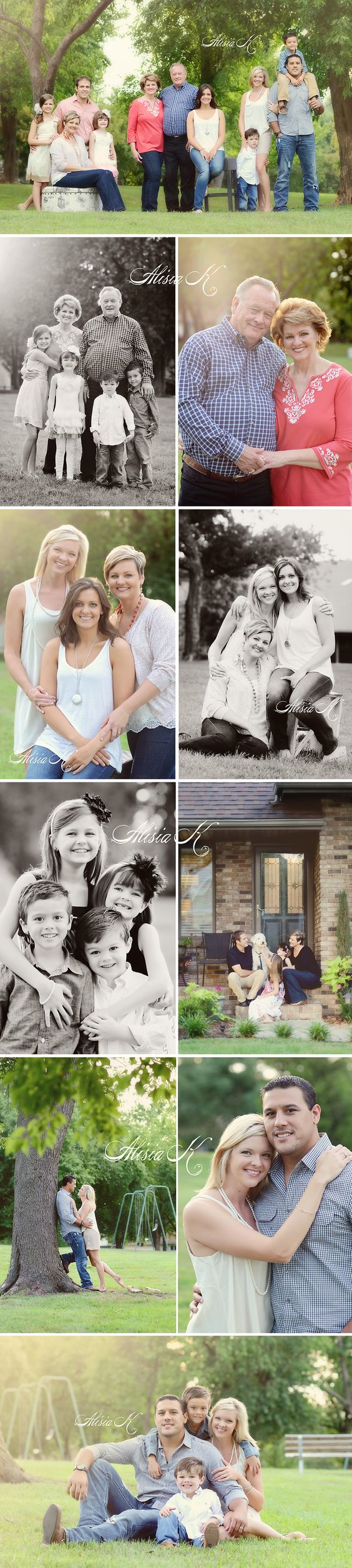 Alisia K Photography, Family Photographer, Springfield, Missouri. LOVE the first pic with the big family slightly separated into family groups