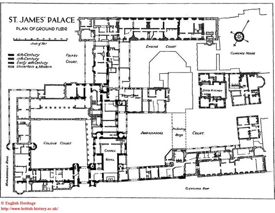 St james 39 palace plan of the ground floor castles and for Palace plan