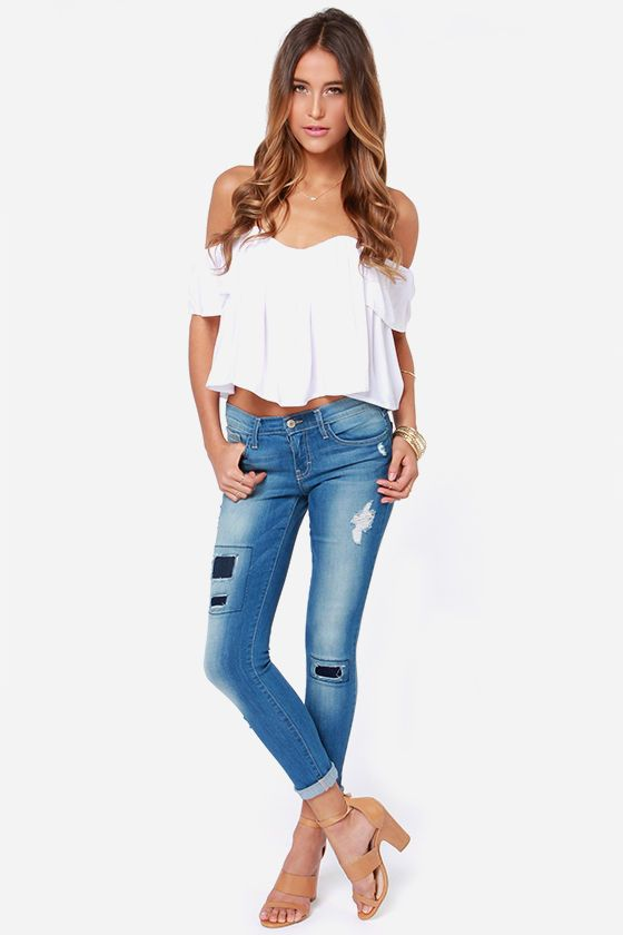 Flying Monkey Patch Work Distressed Cropped Skinny Jeans at LuLus.com!
