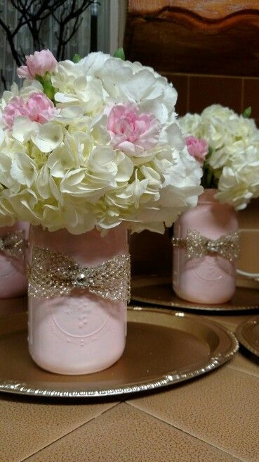 Vintage pink and gold mason jar centerpieces handmade by