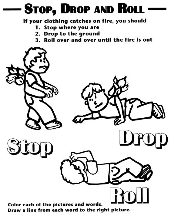Fire Safety Printables | Fire safety coloring sheet showing stop ...