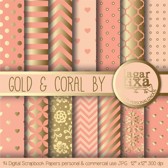 Marion S Coral And Gold Polka Dot Nursery: Digital Papers, Paper Background And Coral On Pinterest