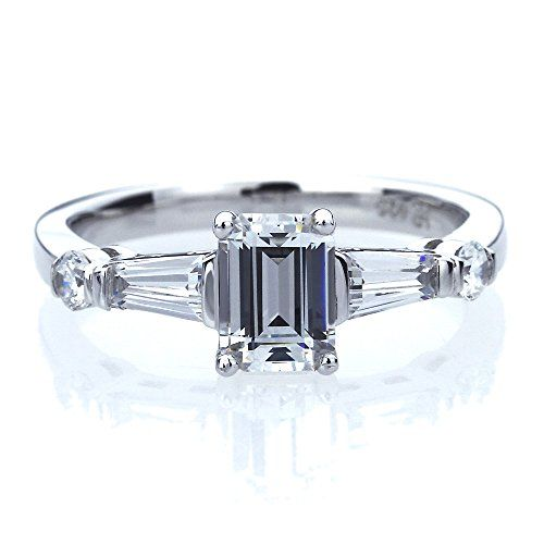 Platinum Plated Sterling Silver 1ct Emerald Cut CZ with Baguette Wedding Engagement Ring ( Size 5 to 9 ), 6. 925 Sterling Silver. Stone Weight of this ring is 1 carats. Top Quality Cubic Zircoina Stone. Platinum Plated.
