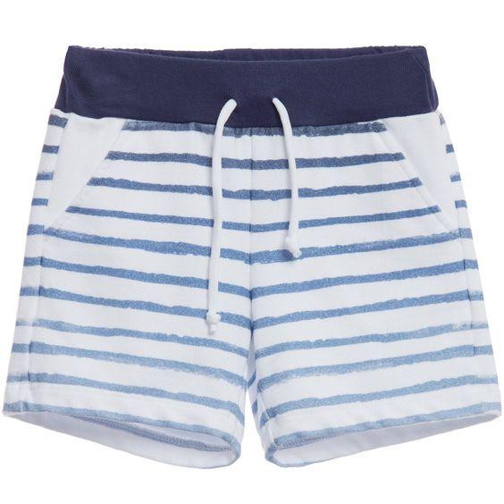 Baby Boys Blue & White Striped Jersey Shorts, Kid's Company, Boy