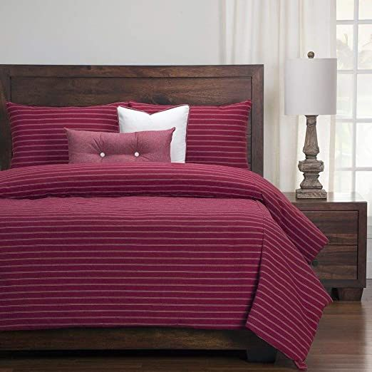6 Piece Burgundy Red Duvet Cover Queen Graceful Ivory Dotted Double Stripe Duvet Cover Set Tightly Tex Farmhouse Bedding Sets Red Duvet Cover Alternative Duvet