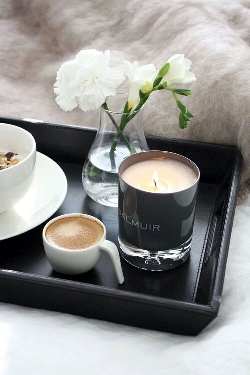 Autumn Bed Breakfast Candle Coffee Flowers Morning Saay Tea Pinterest Flower And