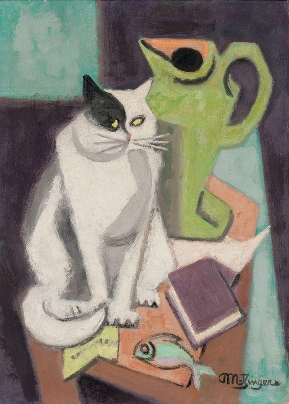 lawrenceleemagnuson:Jean Metzinger (1883-1956) Chat et poisson (c. 1950)oil on canvas 33 x 24.1 cm: