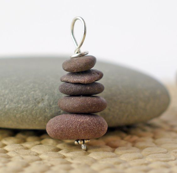 Cape Cod Beach Stone Cairn pendant to mark your by Jewelsverne, $15.00