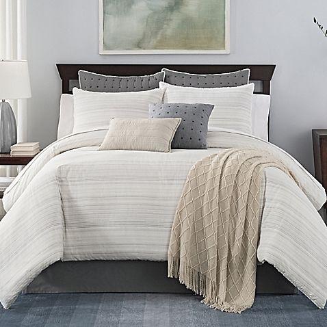 Https Www Bedbathandbeyond Com Store Product Landon Stria Stripe Comforter Set 242020 Categoryid Comforter Sets Bedroom Comforter Sets Grey And White Bedding