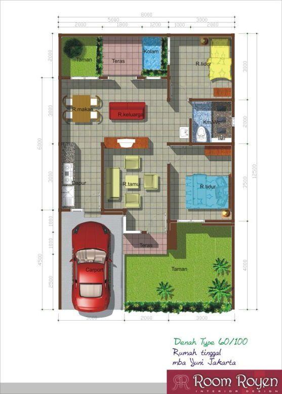 22 Denah Desain Rumah Type 60 Rumah Kekinian Dengan Gambar