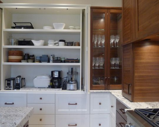 Unique bi-fold cabinet doors, two toned cabinets, granite counters ...