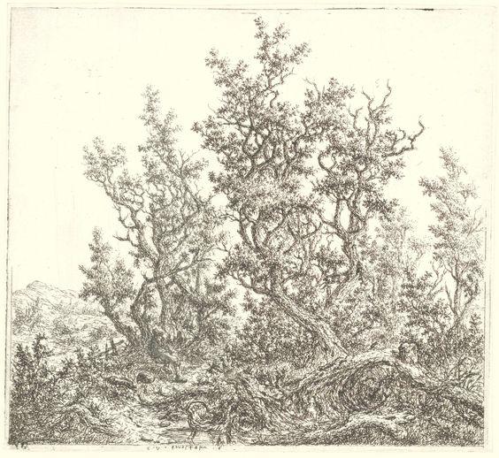 Claes van Beresteyn   Landschap met een groep eiken en een rustende man, Claes van Beresteyn, 1653 - 1657  