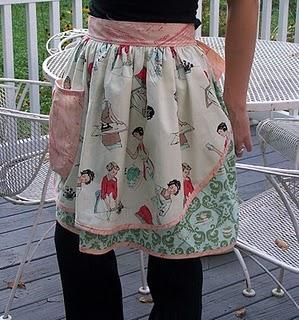 apron. this give me a fantastic idea! recycled fabric from old clothing (thrift store or yard sale) turn it into adorable aprons!!