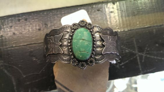 Fred Harvey Turquoise and Silver Bracelet by SouthwestFindings