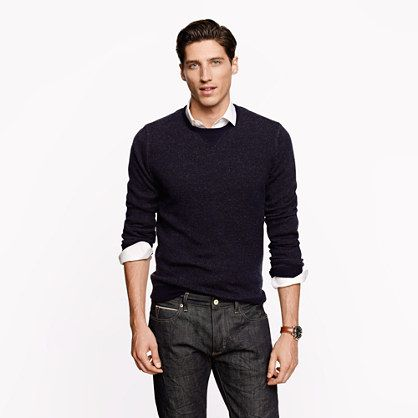 Cashmere Sweater layered over button down shirt. Nice casual look!
