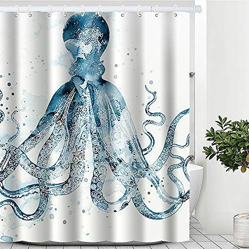 Jz Designs Blue Beach Theme Octopus Shower Curtain Shower Curtains Boutique In 2020 Beach Theme Shower Curtain Octopus Shower Curtains Beach Shower Curtains