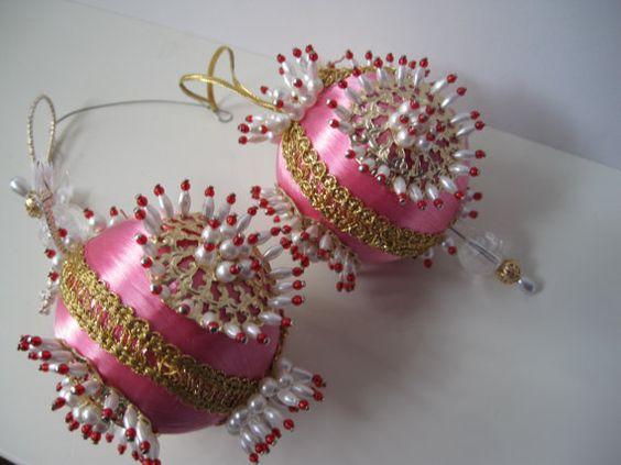Pair of Gorgeous Vintage handmade Beaded Pink by FeminineWildes, $45.00
