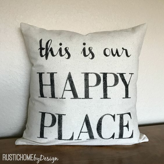 This Is Our Happy Place | Rustic Pillow Cover | Farmhouse Pillow | Multi Sizes Available