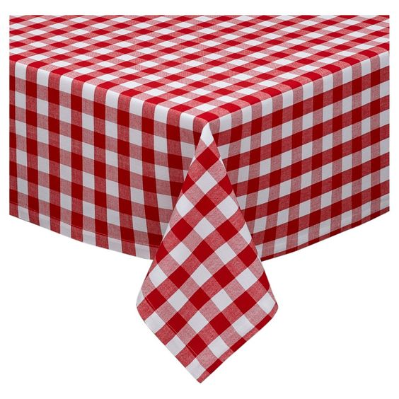 Tango & White Checkers Tablecloth - 52 X 52, Red