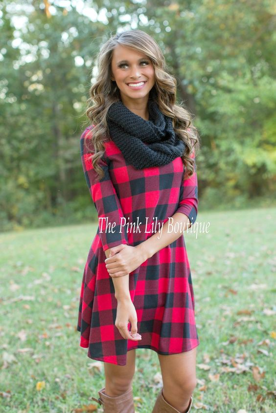 The Pink Lily Boutique - Squared Away Red Plaid Dress  $37.00 ...