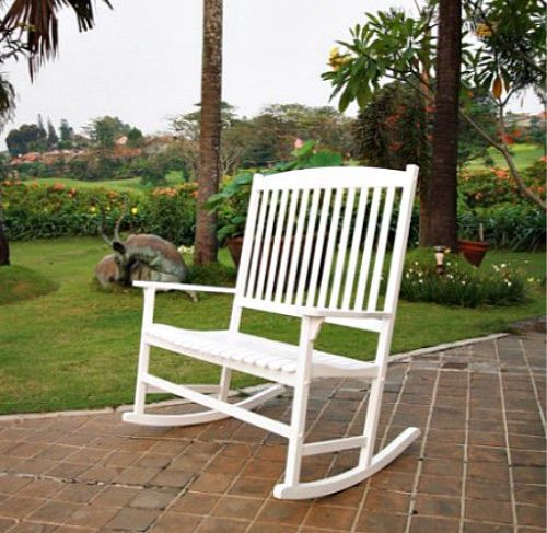 White Outdoor Double Rocking Chair 2 Person Wooden Porch