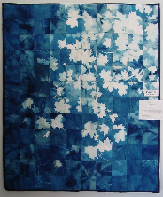 Blanket, Cyanotype  Make cyontype quilt for bed or fabric wall hanging to go with denim theme.:
