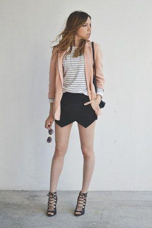 black envelope skirt with light pink blazer. love the look.