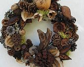 Pinecone and Dried Seed Pod Wreath (PW22) - made one of these once. It takes forever and actually hurts your fingers but it's worth it.