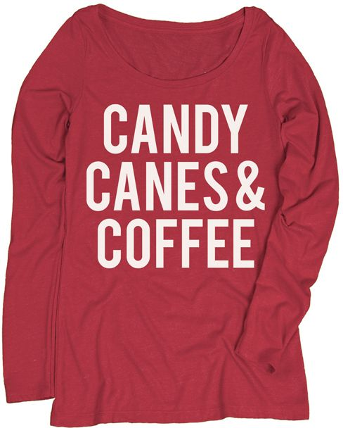 Red 'Candy Canes and Coffee' Long-Sleeve Tee - Women