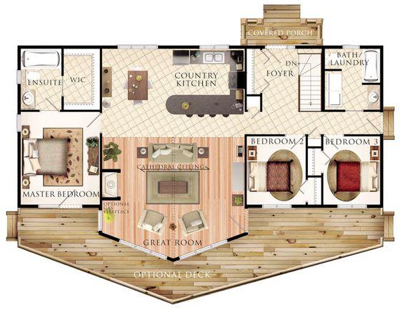 hermoso plano de casa de campo de 132 7m2 y 3 dormitorios