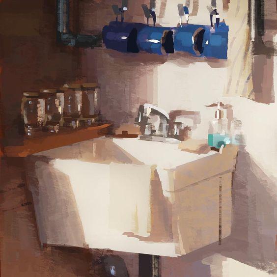 「Morning painting of #tonkohouse sink」