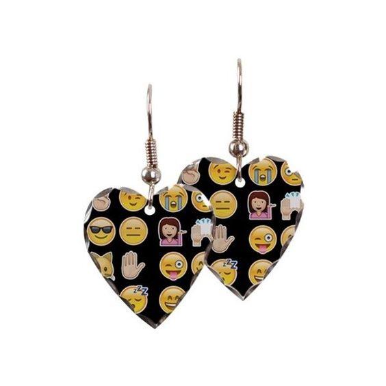 black emoji Earring ($23) ❤ liked on Polyvore featuring jewelry, earrings, pray, heart earrings, black jet jewelry, surgical steel jewelry, black jewelry and kohl jewelry