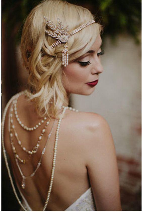 1920's Great Gatsby Inspired gold leaf medallion pearl headpiece headband
