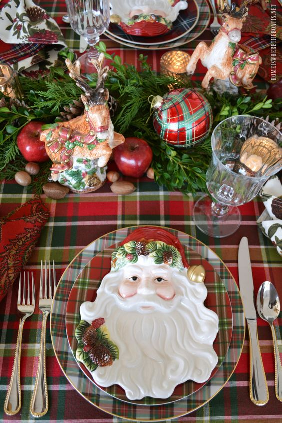 Plaid Tidings Christmas Table with St. Nick and a DIY Natural Evergreen Table Runner | homeiswheretheboatis.net #tartan: