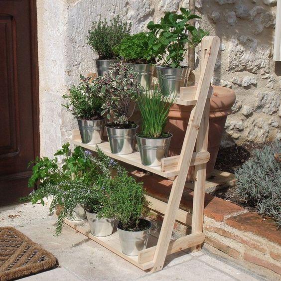 3 Tier Wooden Flower Stand Herb Plant Pot Shelves Garden