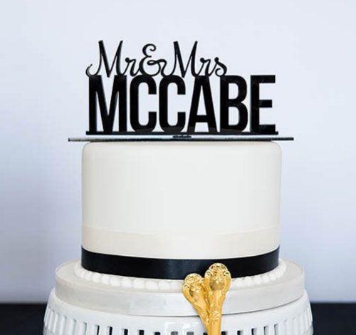Personalized Acrylic Cake Mr & Mrs Wedding cake topper $27.98