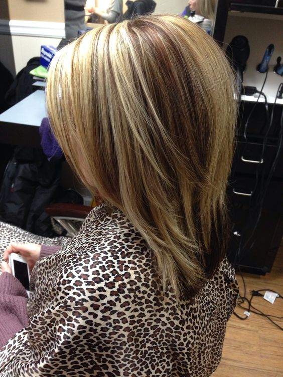High And Lowlight Medium Length With Layers Hair