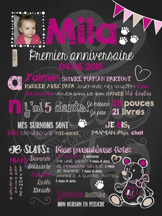 Affiche personnalisée 1er anniversaire Nounours d'amour (fuschia)   30,00$ #chalkboard