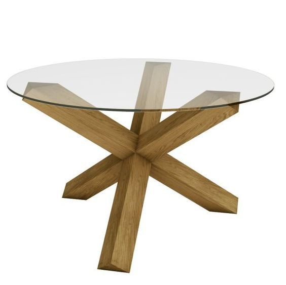 Oak table dinning table and dining room furniture on pinterest - Crossed leg dining table ...