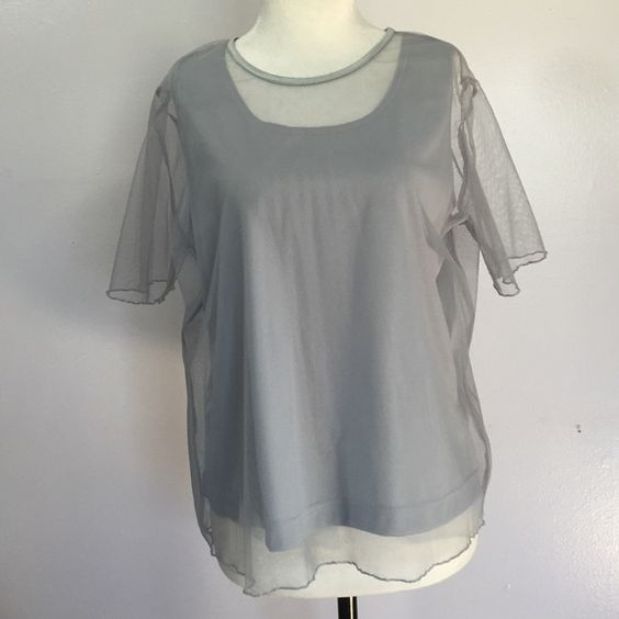 Bentley Shell W/ Attached Overlay- Lge Cute blu/ grey shell with sheer overlay! Perfect condition Bentley Tops Blouses