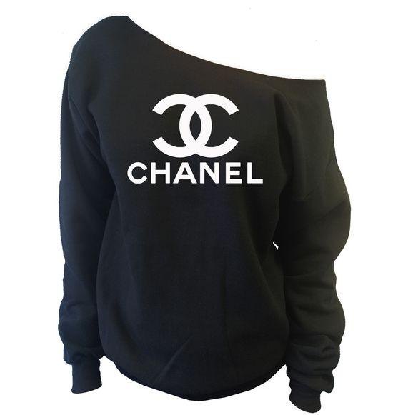 sweatshirts chanel and one shoulder on pinterest. Black Bedroom Furniture Sets. Home Design Ideas