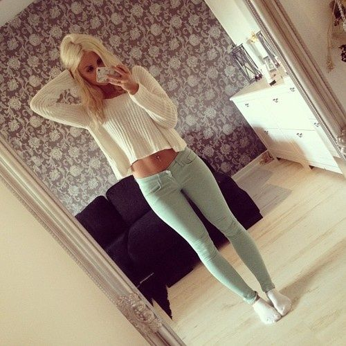 Vanilla sweater and light pale green skinny jeans