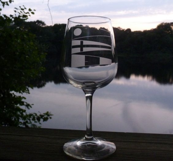 143 I love you Signal Flags Wine Glass. $15.00, via Etsy.