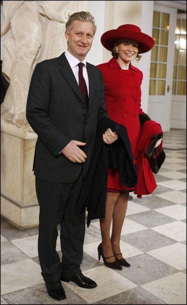 HRH Princess Mathilde of Belgium.... Christening of Prince Christian of Denmark in Copenhagen, Denmark On January 21, 2006-Arrival of Prince Philippe and princess Mathilde of Belgium at the Drabant hall.