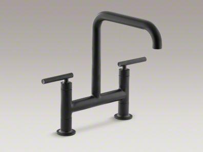Kohler Purist Matte Black Bridge Kitchen Faucet Hardware Fixtures Materials Pinterest