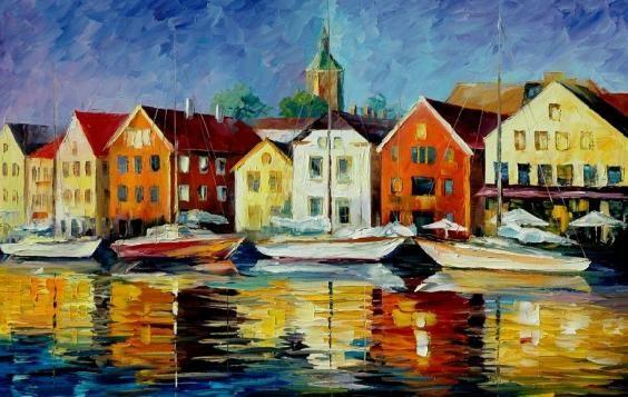 Schilderij huisjes aan het water kunst voor in huis huizen pinterest water en kunst for Schilderij huis voorgerecht