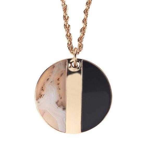 Lola Rose Boutique Bellamy Pendant Necklace Montana Agate & Black Agate New #LolaRose